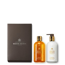 Molton Brown EU | Oudh Accord & Gold Shower Gel & Body Lotion Gift Set