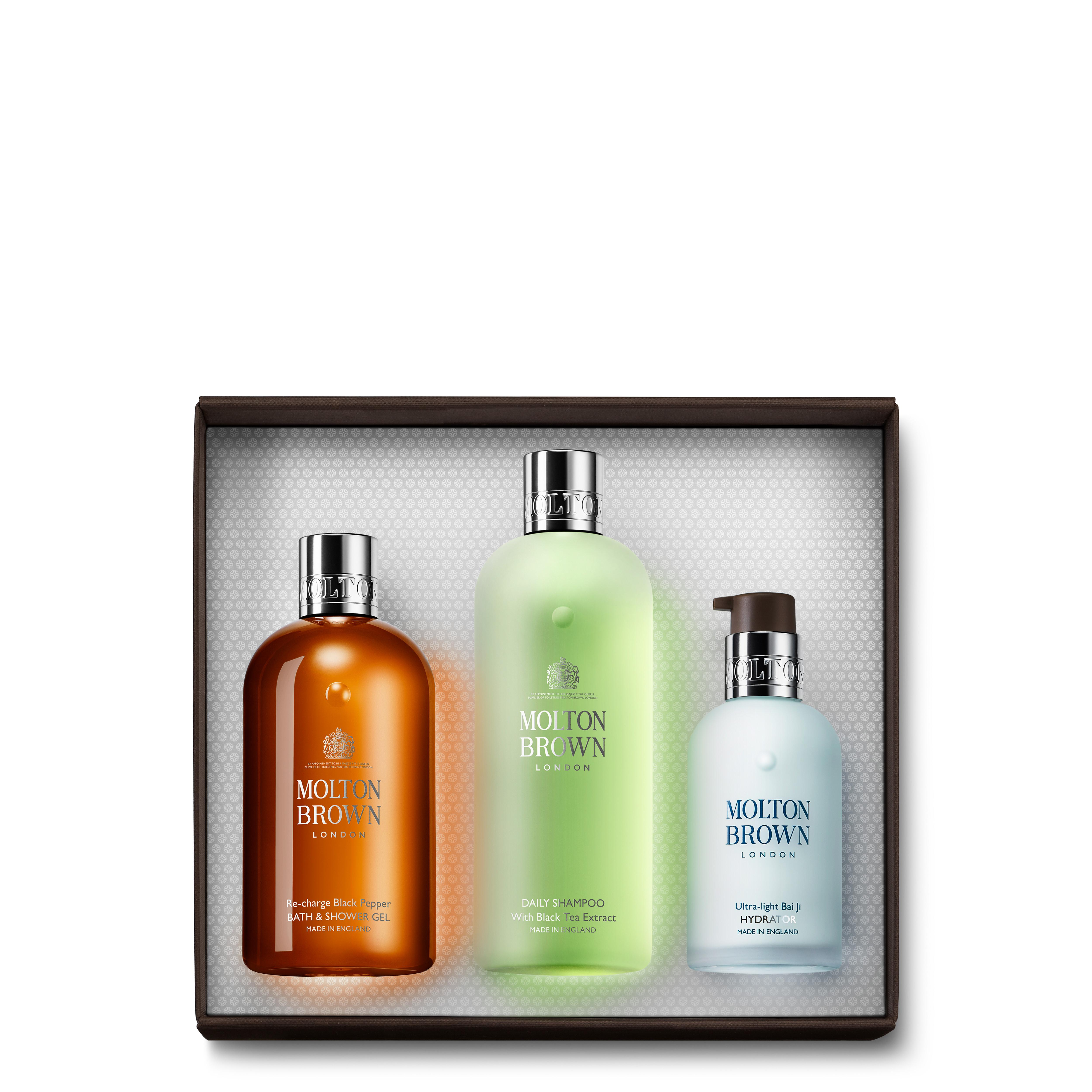 Black Pepper Body Wash, Shampoo & Moisturiser Gift Set for Him