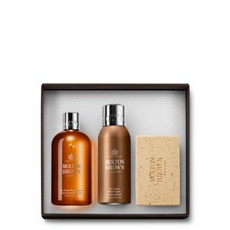 Molton Brown UK Black Pepper Shower Gel, Deodorant & Scrub Bar Gift Set for Him