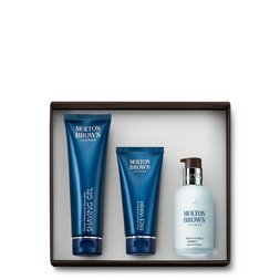 Molton Brown UK Men's Face Wash, Shaving Gel & Hydrator Set