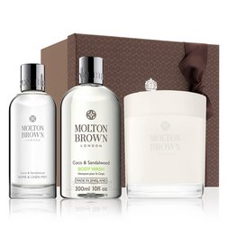 Molton Brown Australia Coco & Sandalwood Shower Gel, Room Spray & Scented Candle Gift Set
