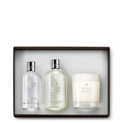 Molton Brown UK Coco & Sandalwood Shower Gel, Room Spray & Scented Candle Gift Set