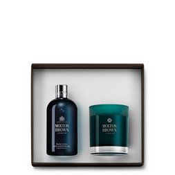 Molton Brown EU  Russian Leather Shower Gel & Candle Gift Set