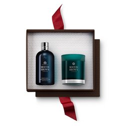 Molton Brown UK Russian Leather Shower Gel & Candle Gift Set