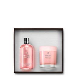 Molton Brown UK Rhubarb & Rose Shower Gel & Single Wick Candle Set